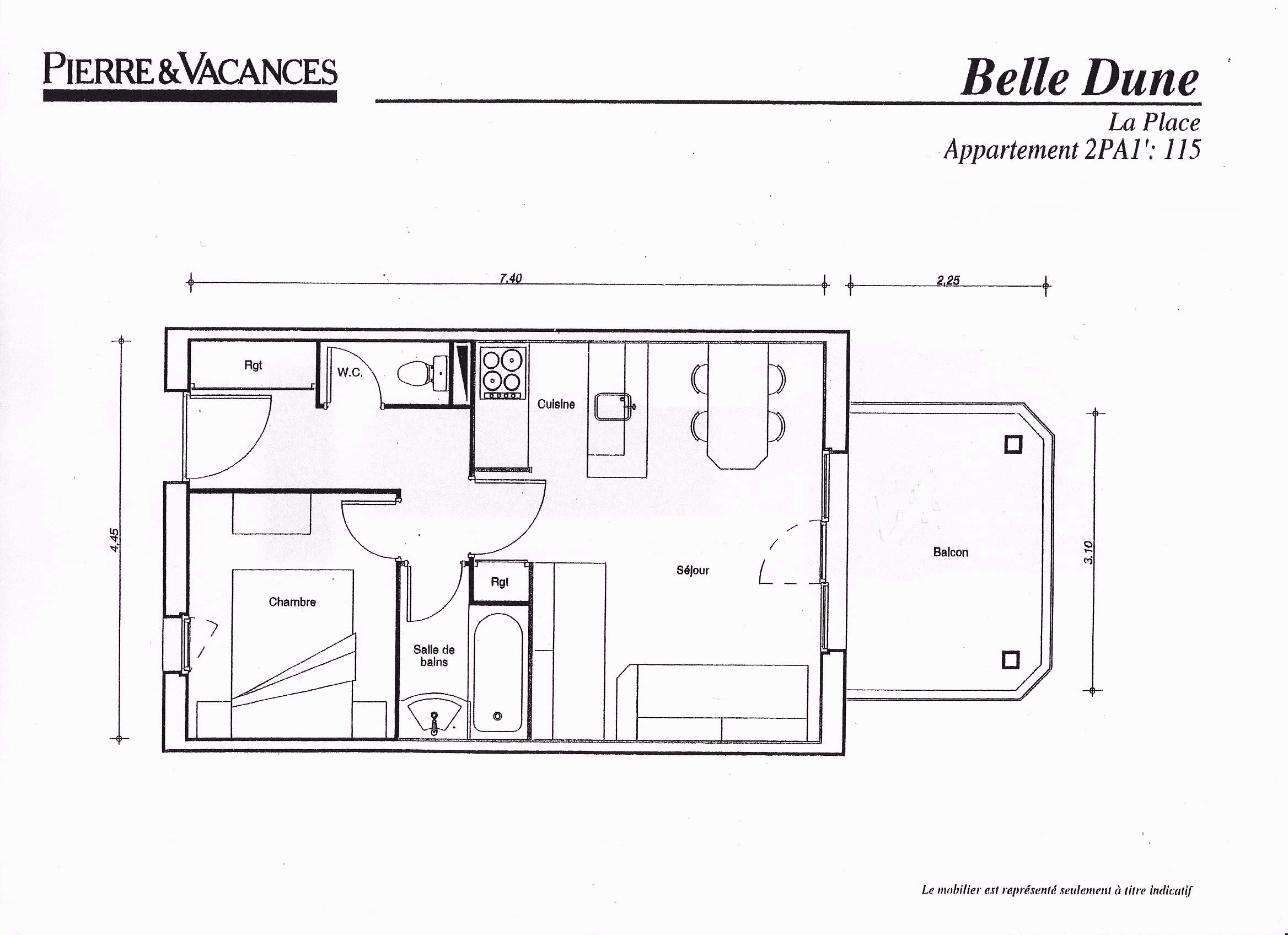 Plan appart belle dune 115 for Appart hotel fort mahon